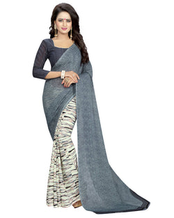 Muta Fashions Women's Unstitched Georgette Grey Saree $ MUTA1536