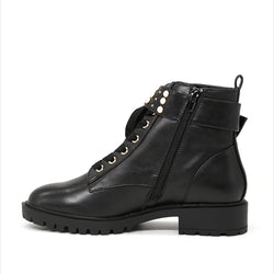 London Rag Women's Black Ankle Buckle Strap Studded Boots-SH1427Black