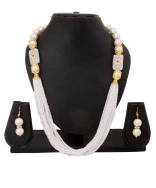 Adoreva White Pearl Necklace Earrings Set