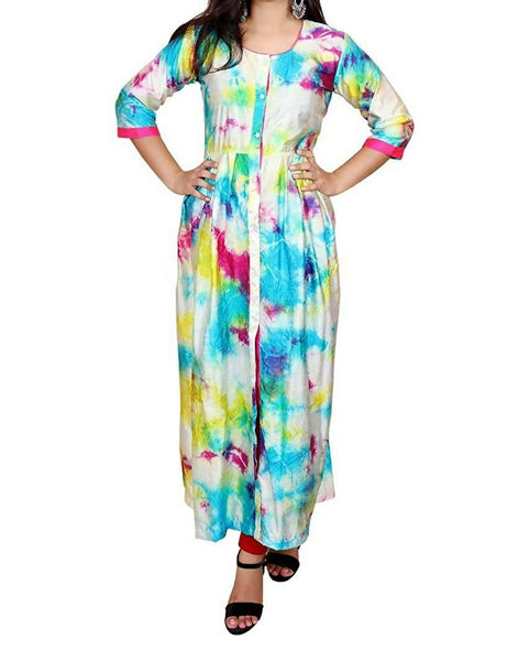Libas Closet Fashion Printed Designer Silk Multi Color Western wear A-Line Dress for Women/Girls- Latest Bollywood Readymade Western Dress Collection (Full Stiched) $ Libas Closet-024