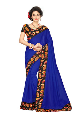 16to60trendz Blue Chanderi Lace Work Chanderi Saree $ SVT00080