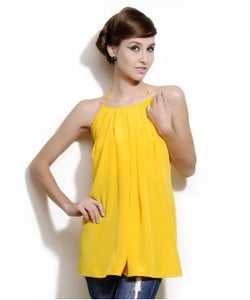 Aastha & Siddhartha Yellow Halter Neck S/L Top