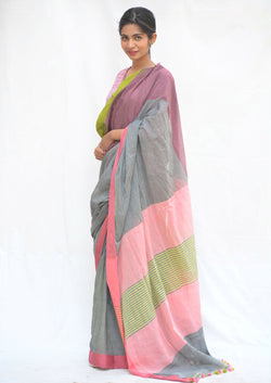 Grey and Pink Khadi Cotton Saree with Pom-Pom $ IWK-GRE-01