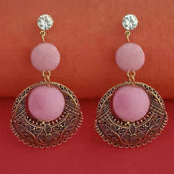 Pink Pom Pom Dangler Earrings