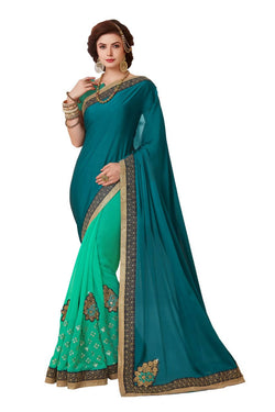 Muta Fashions Women's Unstitched Georgette Sea Green Saree $ MUTA1419