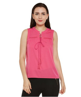 Oxolloxo Pink Solid Top with Tie-up Neck