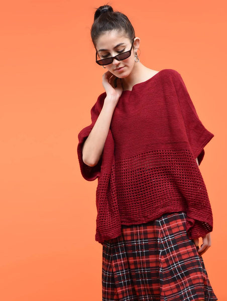 Aiyra Red Color wollen boat neck oversized knitted poncho $ AR15800353_free size