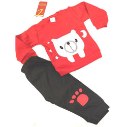 Cute Animal Printed Bear Twin Set Little Boy Girl Two Piece Set Tshirt & Pant for Baby Kids_Red & Black $ CP-KA17
