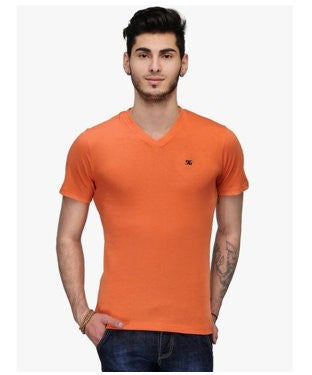 Dazzgear Men's Orange V Neck MTV-56 T-Shirt