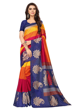 16TO60TRENDZ Multi Color Printed Bhagalpuri Silk Saree $ SVT00456