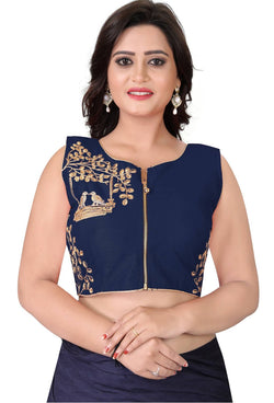 YOYO Fashion Navy Blue Malbari Embriodered Extra Sleeve With Blouse $ YOYO1-BL4008-Navy Blue