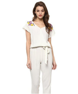 Miway Off White Crepe Solid Jumpsuit