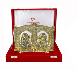 Interational Gift Gold Plated Laxmi Ganesh Murti Oxidized Gold Finish with Velvet Box Packing (16 cm, Gold) $ GSI-157