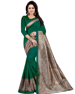 Muta Fashions Women's Unstitched Art Silk Green Saree $ MUTA1412