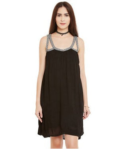Miway Black Viscose Crepe Shift Dress