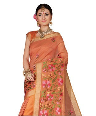 Laethnic Orange Supernet Embroidered Saree