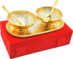 Gold Plated Bowl with Gold Plated Spoon with Gold Plated Tray (Set of 5 Pics, Gold) with Velvet Box Packing Exclusive Gift Items for Diwali Gift, Wedding Gift and Corporate Gift $ IGSPBR1010