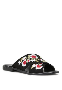 London Rag Women's Black Cross Strap Flat Embellished Sandals $ SH1568