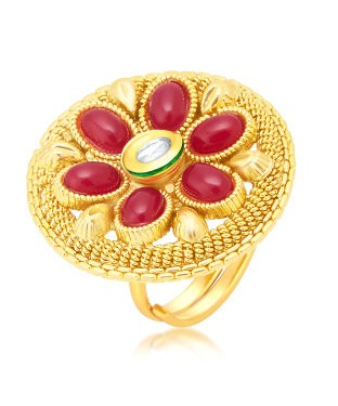 Sukkhi Pleasing Gold Plated Maroon Studded Stone Ring For Women