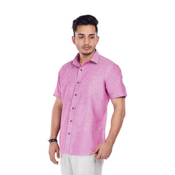 EVOQ Rusty Pink Linen Half Sleeved Shirt With Smart Spread Collar-Mauve On_Pink