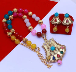 Gold Plated Alloy Metal Hand Crafted Work Women's Multy Color Pearl Necklace set $ AF788631