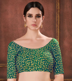 Manvi Fashion Green Color Embroidery Work Two Ton Silk in Fabric Party Wear Readymade Blouse $ MF 3111