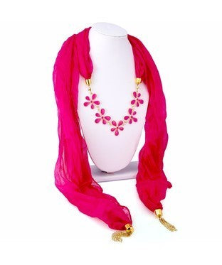 Sukkhi Incredible Chiffon Detachable Scarf Necklace With Chain For Women