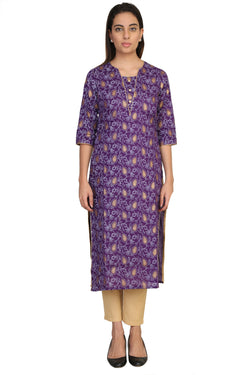 Vaniya Women Cotton Kurta Purpal Printed Kurti $ VN-K102