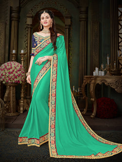 Fashion Zonez Zari Embroidered with lace border Georgette Turquoise Designer Saree With Blouse $FZ 1996
