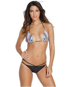 Halter Sliding Triangular Bikini with Black Bottom