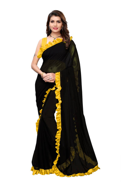 YOYO Fashion Georgette Plain Black saree with Blose $ SARI2654-Yellow