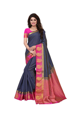 16to60trendz Blue and Pink Tusar Silk Handloom Art Work Kanjivaram saree $ SVT00012