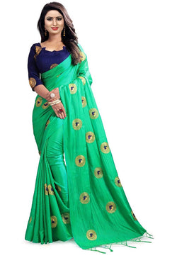 Muta Fashions Women's Unstitched Bangori Silk With Embroidery Green Saree $ MUTA1655