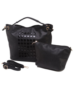 Fiona Trends Black PU Shoulder Bag,6007_BLACK