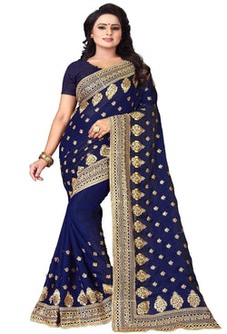 YOYO Fashion Silk Navy Blue Embroidered Saree With Blouse $SARI2591