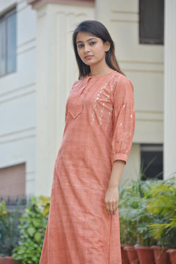 Orange Khadi Cotton Traditional Gotta Patti Kurta $ IWK-000664