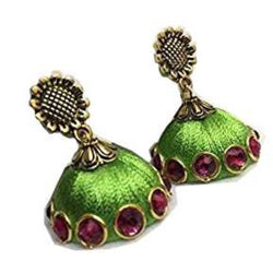 Ailsie Stylish Jhumka Earrings For Women Fashion Beautiful Sliver Antique Flower Design Silk Thread Earring - Leaf Green