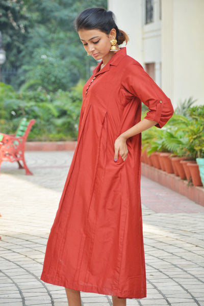Khadi Silk Maroon Shift Dress $ IWK-000470