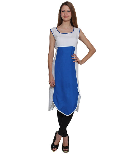 KAVYANI White Rayon Kurti-WE756WHITEBLUE_WHITE