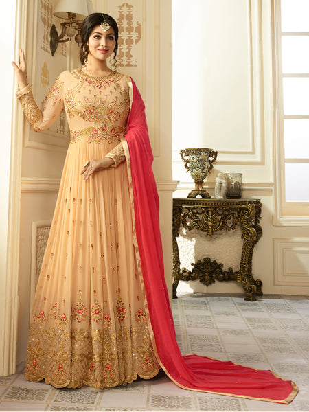 YOYO Fashion Beige & Red Designer Faux Georgette heavy Embroidred and Hand work Anarkali Suit $ F1199