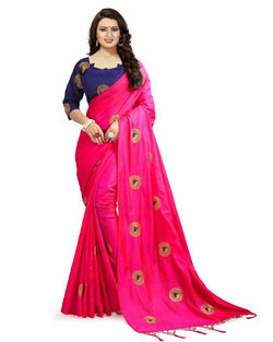 Muta Fashions Women's Unstitched Bangori Silk With Embroidery Pink Saree $ MUTA1656