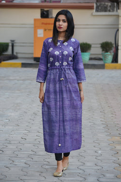 Purple Khadi Cotton Maxi Kurta in Traditional Gotta Patti $ IWK-000665
