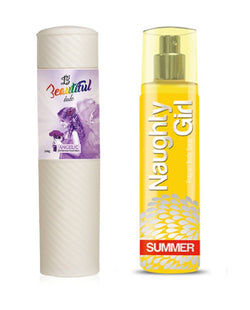 BEAUTIFUL TALC 250gm ANGELIC & Naughty Girl SUMMER 135 ml (Set of 2 for Women)