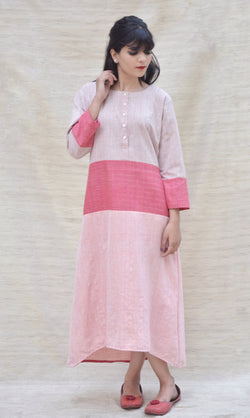 Handspun Khadi Cotton Beige and Pink Maxi Dress $ IWK-000457