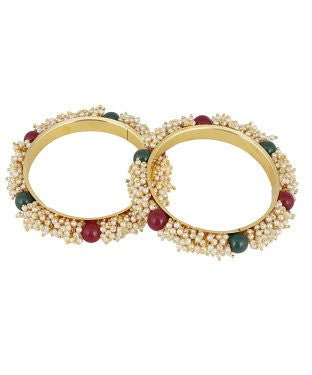 aradhya Alloy Pearl Yellow Gold Bangle (Pack of 2)