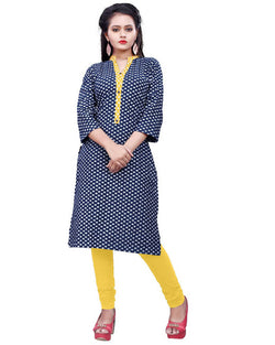 Muta Fashions Women's Stitched Polyster Cotton Navy Blue Knee length kurta $ KURTI409