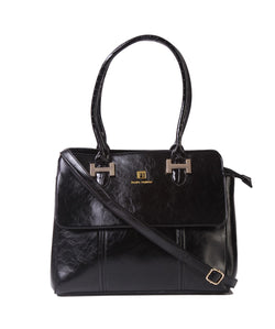 Fiona Trends Black PU Shoulder Bag,103_BLACK