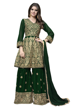YOYO Fashion Green Faux Georgette Anarkali Palazzo & YO-F1314-Green