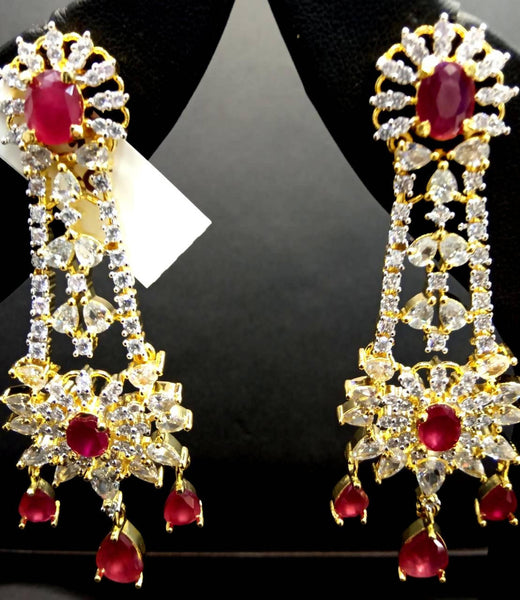 Gaurik Designer Earrings with white american diamonds & pink color stones $ Nilu_Jewel_141
