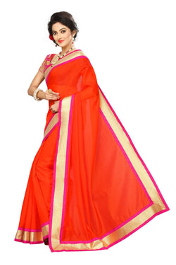 16to60trendz Orange Chanderi Lace Work Chanderi Saree $ SVT00073